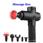 Trend 20 Speeds 5 Heads Heat Fascial Handheld Vibration Deep Tissue Muscle Massage Gun (Black)
