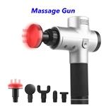 Trend 20 Speeds 5 Heads Heat Fascial Handheld Vibration Deep Tissue Muscle Massage Gun (White)
