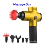 Trend 20 Speeds 5 Heads Heat Fascial Handheld Vibration Deep Tissue Muscle Massage Gun (Yellow)
