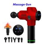 30 Speed Heated Gun Massager Cordless Handheld Massage Gun Deep Tissue Percussion Body Massager (Red)