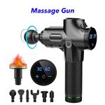 30 Speed Heated Gun Massager Cordless Handheld Massage Gun Deep Tissue Percussion Body Massager (Black)