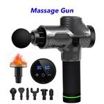 30 Speed Heated Gun Massager Cordless Handheld Massage Gun Deep Tissue Percussion Body Massager (Carbon Fiber)