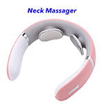 Cordless Massage Neck Ems Smart Electric Neck Massager with Heat(Pink)