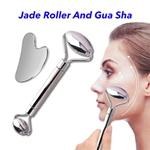 Stainless Skin Massage Tool Facial Massage Jade Roller Gua Sha Set