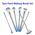 7pcs Soft Colorful Synthetic Hair Pearl Makeup Brushes Set (Blue)
