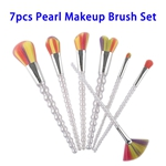 7pcs Soft Colorful Synthetic Hair Pearl Makeup Brushes Set (White)