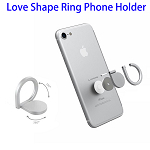 360 Degrees Rotation Love Shape Ring Phone Holder for iPhone, for Huawei, for Samsung etc. (Silver)