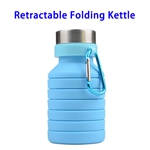 LFGB Approved 550ml Outdoor Food Grade Silicone Collapsible Sport Foldable Water Bottle (Blue)