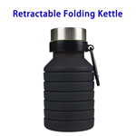 LFGB Approved 550ml Outdoor Food Grade Silicone Collapsible Sport Foldable Water Bottle (Black)