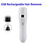 Portable Mini USB Rechargeable Stainless Steel Head Hair Remover (White)