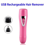 Portable Mini USB Rechargeable Stainless Steel Head Hair Remover (Red)
