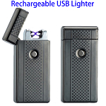 Dual Arcs Rechargeable Electric USB Cigarette Lighter (Black with Grid Pattern)