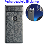 Dual Arcs Rechargeable Electric USB Cigarette Lighter (Black with Leaf Pattern)