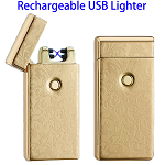 Dual Arcs Rechargeable Electric USB Cigarette Lighter (Gold with Leaf Pattern)