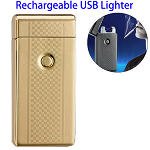Dual Arcs Rechargeable Electric USB Cigarette Lighter (Gold with Grid Pattern)