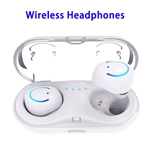 Q18 HD Sound Bluetooth Headphone 4.2 In-ear Earphone with Charging Base (White)